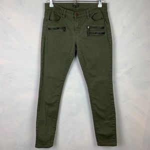 BLANK NYC army green denim jeans w/ zipper detail